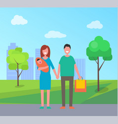 family walking in park banner cartoon style vector image