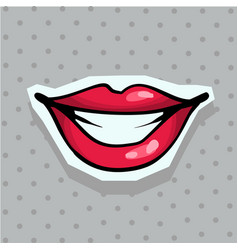 fashion patch badge with sexy smiling lips pop art vector image