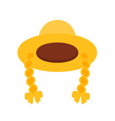 female straw hat with braid in cartoon style vector image