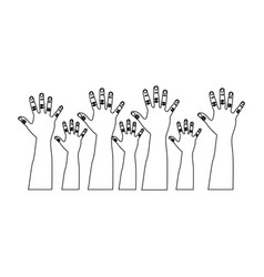 Figure hands up icon vector