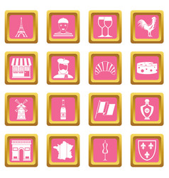 France travel icons pink vector