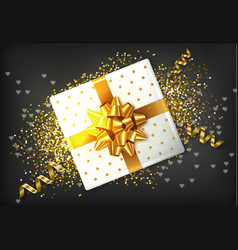 gift box golden bow realistic confeti and vector image