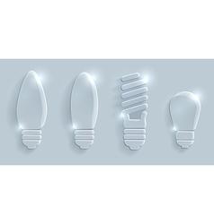 Glass lightbulbs set on grey background vector