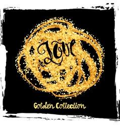Gold glitter love concept hand lettering vector image