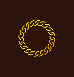 Golden chain round outline icon or logo vector