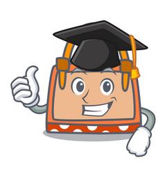 Graduation hand bag character cartoon vector