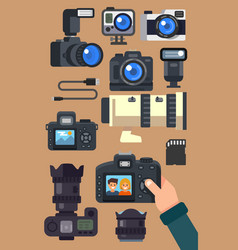 Graphic set camera and video recorder vector