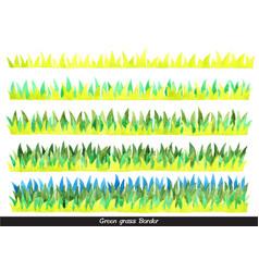 Green grass meadow watercolor border vector