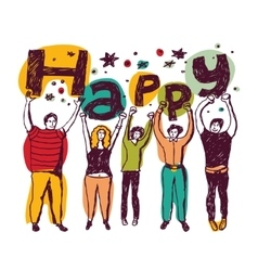 Group happy casual people isolate colors vector image