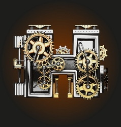 H letter with gears vector