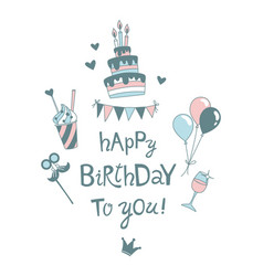 happy birthday lettering b-day cake with candles vector image