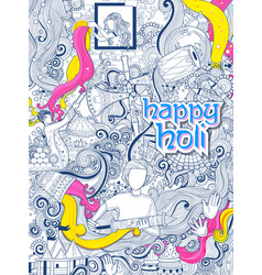 happy holi doodle background for festival of vector image