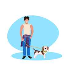 happy man walking with dog guy with puppy having vector image