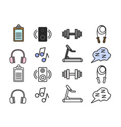 healthy lifestyle colorful icons set image vector image