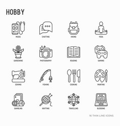 Hobby thin line icons set vector