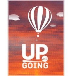 Hot air balloon in sky typographic poster vector