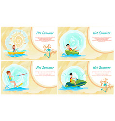 hot summer banner colorful vector image