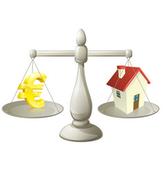 house cash euro scales concept vector image
