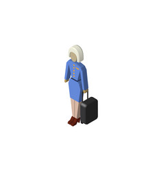 Isolated stewardess isometric hostess vector