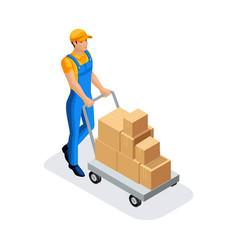Isometric man in uniform gains goods in the wareho vector