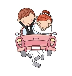 Just married couple car isolated vector