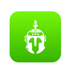 knight helmet icon green vector image