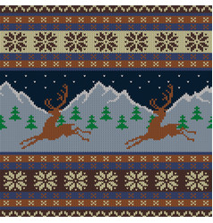 knitted wool tapestry with deers and a starry sky vector image