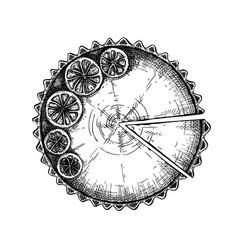 Lemon cheesecake sketch ink hand drawn f vector