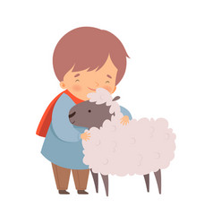 Little boy embracing sheep feeling happiness vector
