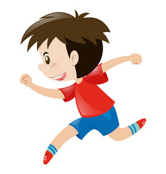 Little boy in red shirt running alone vector