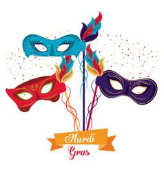 mardi gras masks vector image