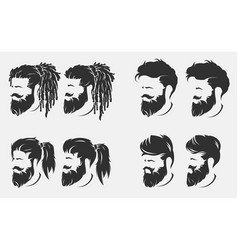 mens hairstyles and haircut with beard vector image