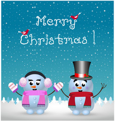 merry christmas card of kawaii snowman and vector image