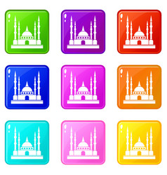 Mosque icons 9 set vector