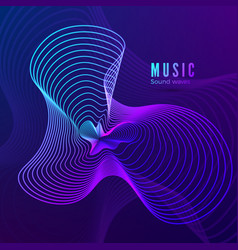 music sound wave template blue and purple colors vector image