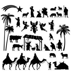 Nativity silhouette set vector