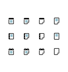 Notepad and sticky note duotone icon set vector
