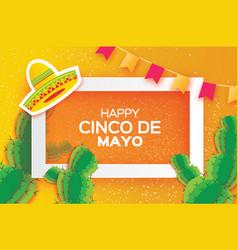 orange happy cinco de mayo greeting card origami vector image