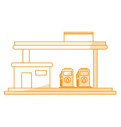 Orange silhouette shading gasoline service station vector