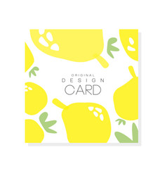 original card template with lemons citrus fruit vector image