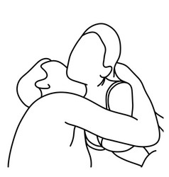 Outline husband kissing his wife on her neck vector