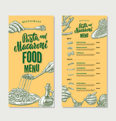 Pasta restaurant food menu vintage template vector