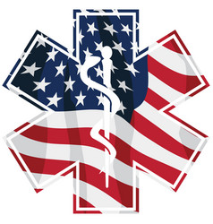 patriotic paramedic emt medical service usa flag vector image