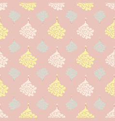 Pattern with dolls in princess dresses on pink vector