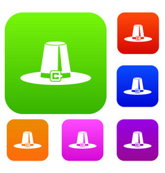 Pilgrim hat set collection vector