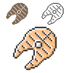 Pixel icon grilled fish piece in three vector