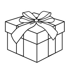 Pop art gift box cartoon in black and white vector