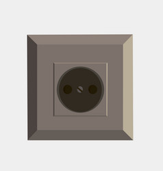 power socket flat icon isolated front view vector image