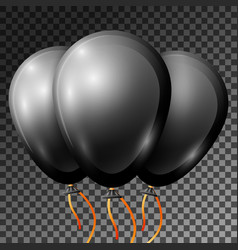 realistic black balloons with ribbons isolated vector image