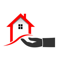 Realtor hand to sell house vector